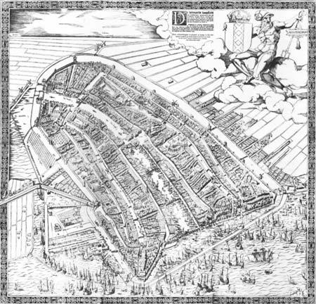 Amsterdam gezien vanuit vogelvlucht, een houtgravure uit 1544 en uit 1610 van Cornelisz Anthonisz.