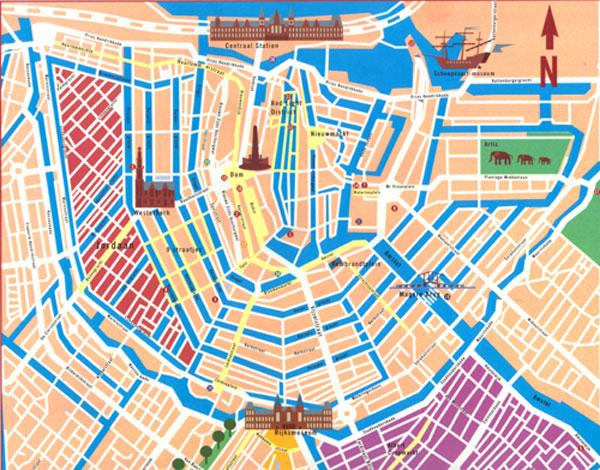 Een nieuwere kaart van de grachtengordel.