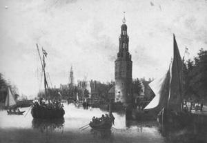 De Montelbaanstoren aan de Oude Schans. Amsterdam omstreeks 1680.
