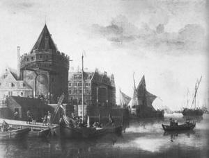 De Schreierstoren(1480 gebouwd als vestingtoren) aan het Open Havenfront, toen in 1689 was Amsterdam nog aan een open IJ.