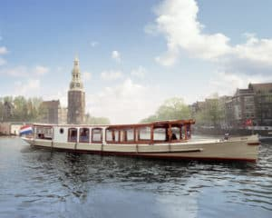 Amsterdam Boat Tour near Montelbaans tower at the Oude Schans Canal in Amsterdam
